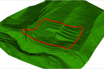 DTM dell'ipotetico fondo scavo del sito di cava
